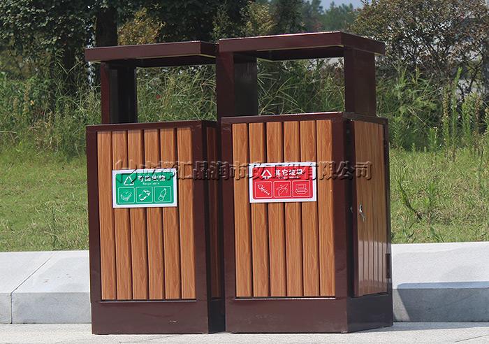 成都公园钢木垃圾桶