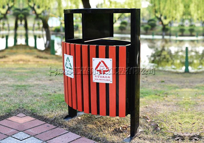 重庆室外公园钢木垃圾桶