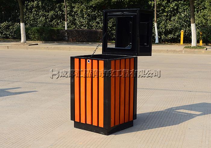 重庆钢木分类果皮箱